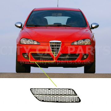 Alfa Romeo 147 2007-2010 Front Bumper Grille With Silver Moulding Driver Side